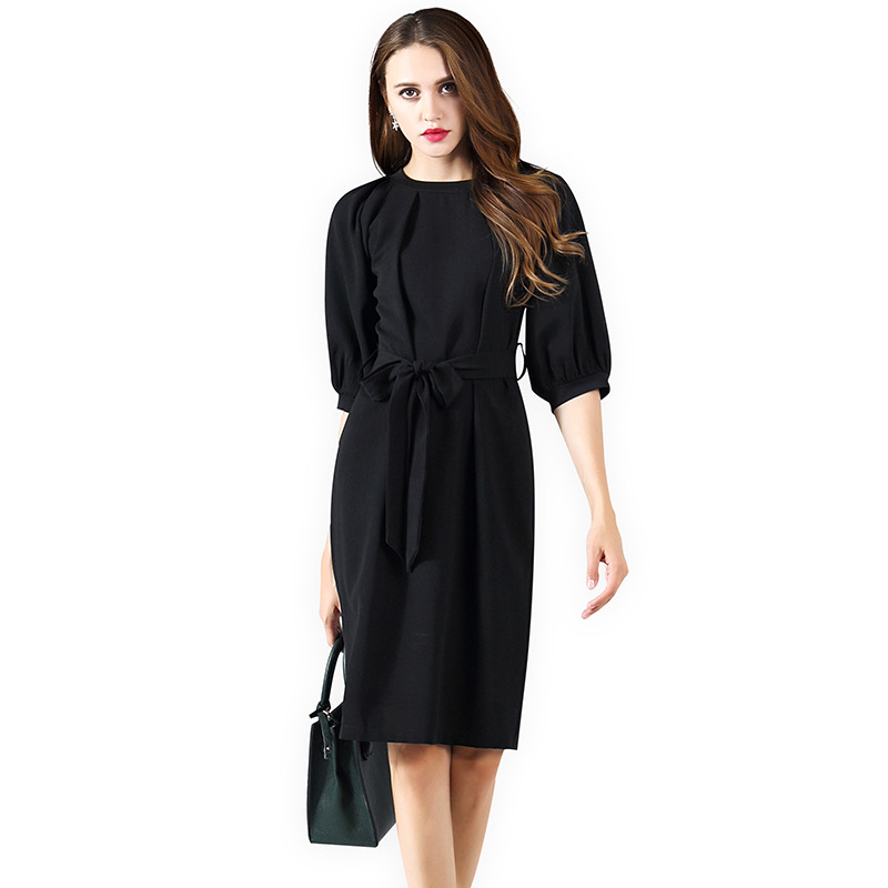 Plus 2018 New Fashion neck Shipping Dress Puff Colour Size Summer Solid Sleeve Dresses Arrival Women Free O q7BrWt4Uqw