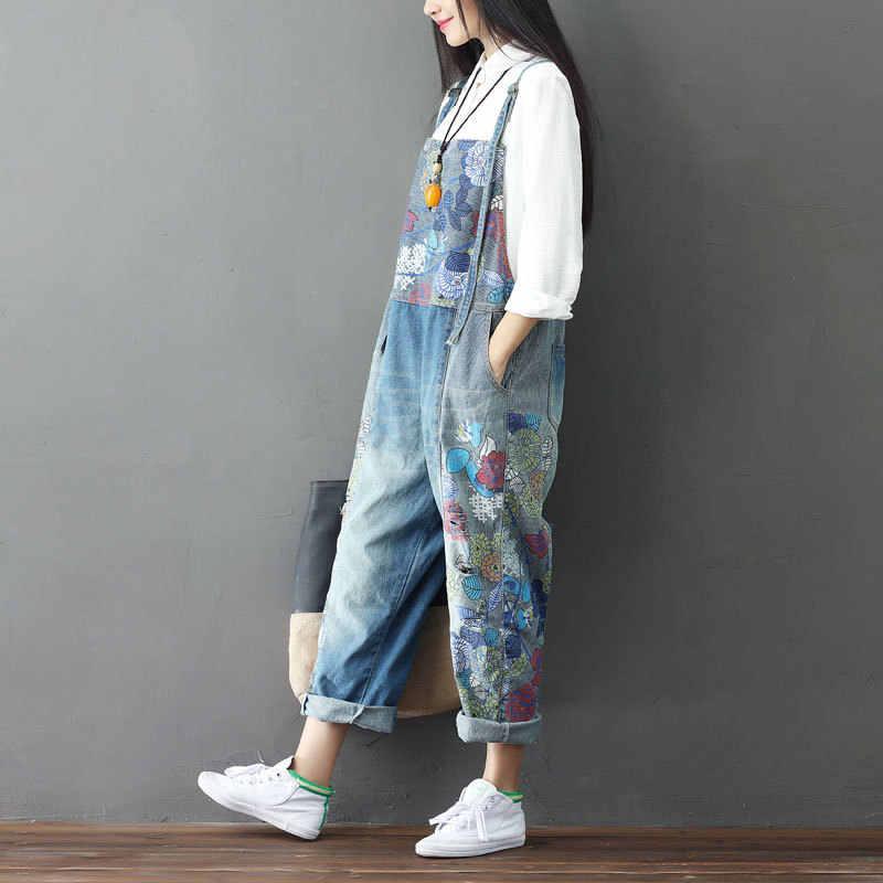 Винтажные Ретро Богемный Хиппи Boho Брюки Harajuku Mujer Femme комбинезоны спецодежда джинсовый, синие джинсы брюки для женщин брюки