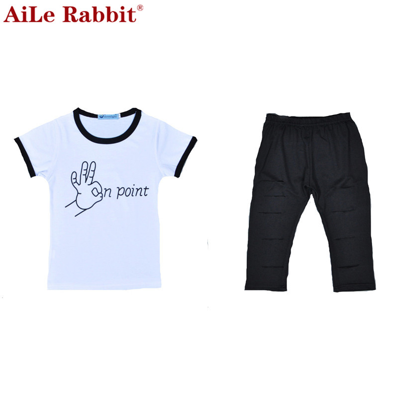 <font><b>Trend</b></font> Europe style Special design girls clothing sets fashion letters white T-shirt + hole trousers 2PCS children clothing girls