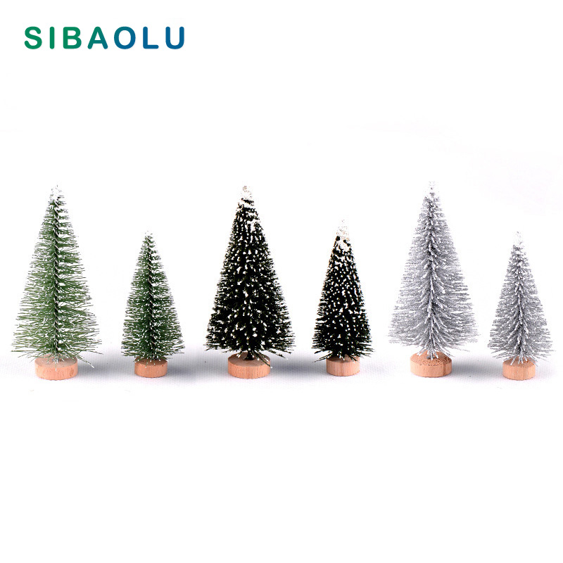 2pcs Artificial Mini size Christmas Tree House Decoration Figurine miniature fairy garden ornament Desk DIY Accessories image