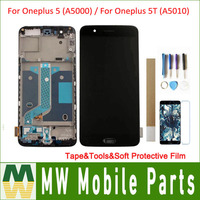 For Oneplus 5 (A5000) / For Oneplus 5T (A5010) LCD Display+Touch Screen Assembly with frame with tape&tools&soft protective film