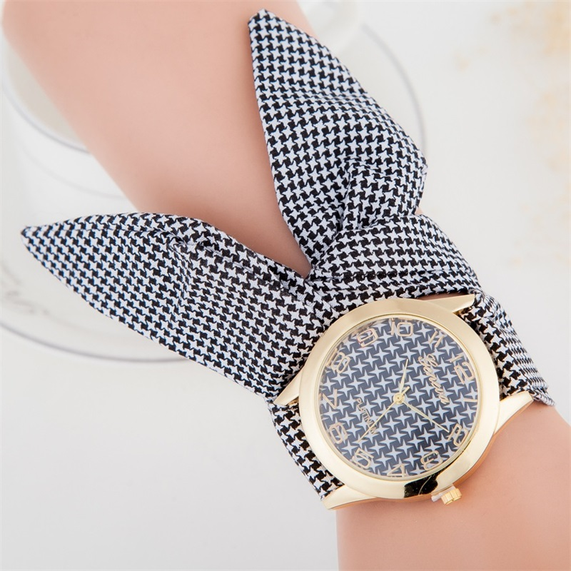 MINHIN Fashionable Non-clasped Hand-Tied Women Watch Lattice-style Ribbon Band Casual Dress Watch Ladies Quartz Wristwatches