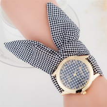 MINHIN Fashionable Non-clasped Hand-Tied Women Watch Lattice-style Ribbon Band C