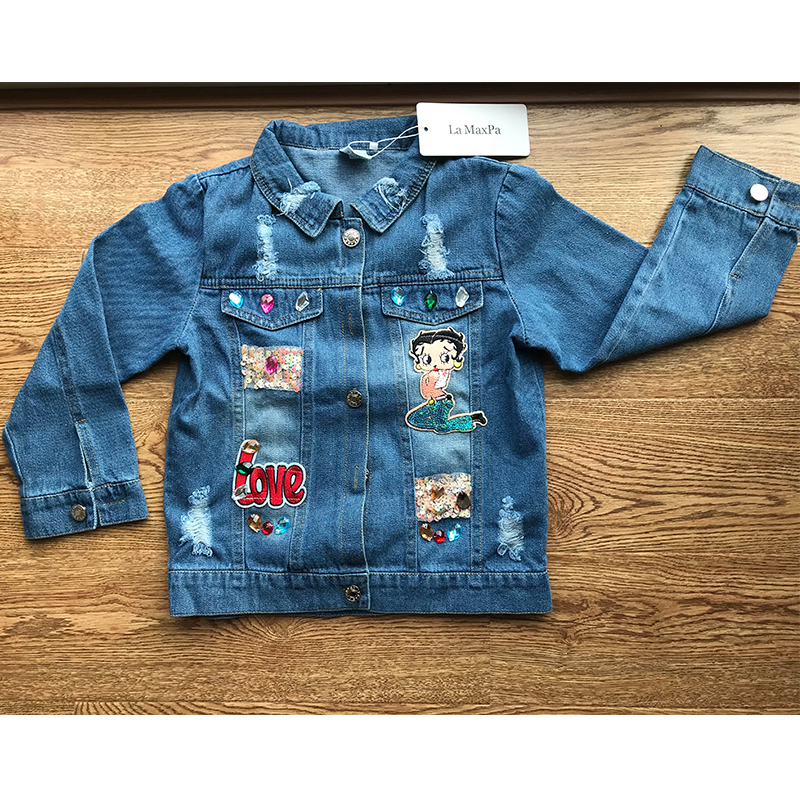 Spring Autumn baby jacket girls denim outfit kids outwear children coat ripped sequin faux crystal letter patch 2 to 7 yrs