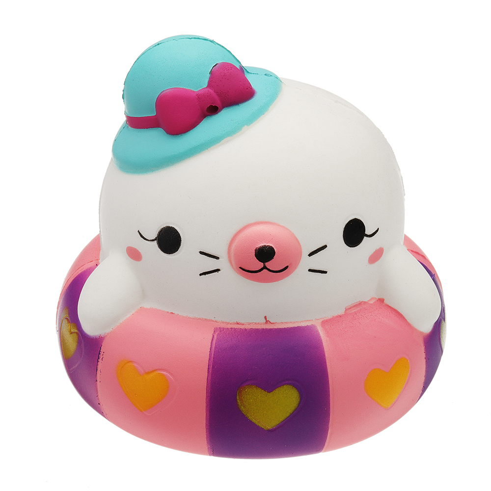 Swimming Circle Cat Charm 10*10cm Slow Rising With Packaging Collection Gift Soft Relief Stress Toy