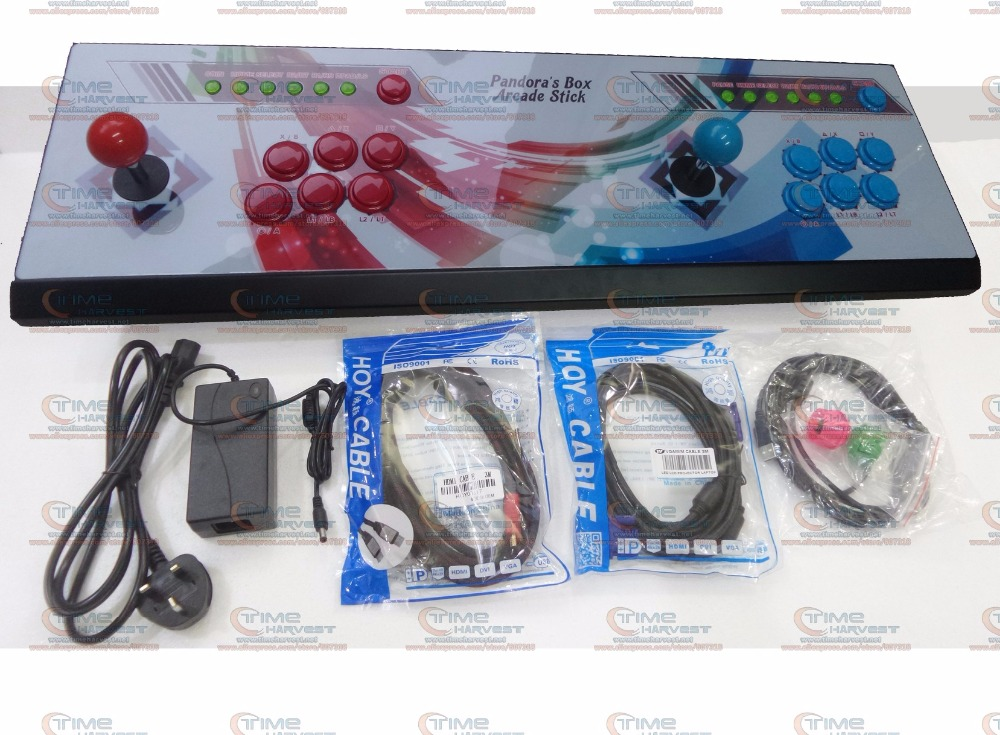 New Arrival Pandora Box 6 All-metal Box <font><b>2</b></font> players Arcade Fighting Game Joystick with 4 core CPU <font><b>1300</b></font> in <font><b>1</b></font> games 8 ways joysticks image