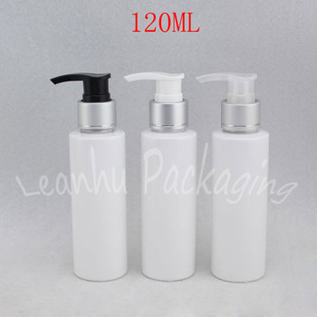 120ML White Flat Shoulder Lotion Pump Bottle , 120CC Shower Gel / Shampoo Sub-bottling , Empty Cosmetic Container