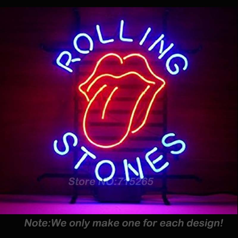 NEON SIGN For The Famous Rolling Stones Rock Band GLASS Tube BEER BAR PUB Club Business Custom Shop Light Signs Iconic 19x15 VD