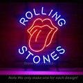 SINAL de NÉON Para O Famoso Rolling Stones Rock Band Tubo DE VIDRO BEER BAR PUB Clube de Negócios Custom Shop Signs Luz Sign19x15 Icônica