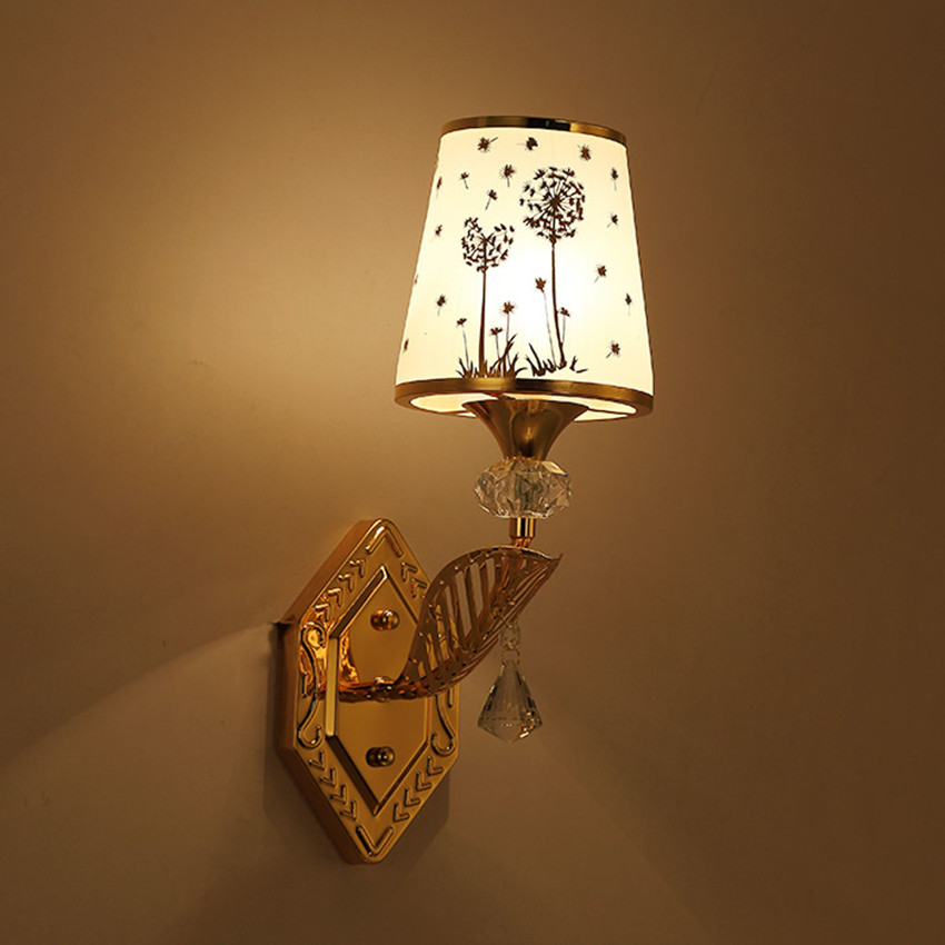 Simple crystal wall lamp warm bedroom children 's room bedside lamp hotel staircase aisle hotel engineering lights gold glass