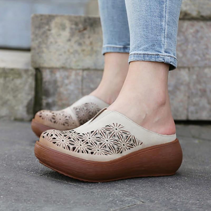 หญิงฤดูร้อนฤดูร้อนเย็นลาก,Baotou หนัง retro hollowed รองเท้าแตะครึ่ง,ด้านนอกสวมใส่ด้านล่างมัฟฟินลากคำ-ใน รองเท้าใส่ในบ้าน จาก รองเท้า บน   2