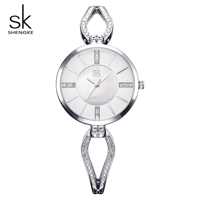 Shengke Top Brand Luxury Crystal Bracelet Watches Women Clock Quartz Watch Relog