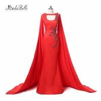 modabelle Red Mermaid Plus Size Turkish Evening Dresses With Cape 2017 Arabic Dubai Kaftan Long Sleeve Formal Gowns Galajurk