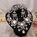 Nueva exquisito collar de la joyería nupcial de tres piezas de gama alta joyería venta al por mayor joyería de la joyería cristalina accesorios de la boda