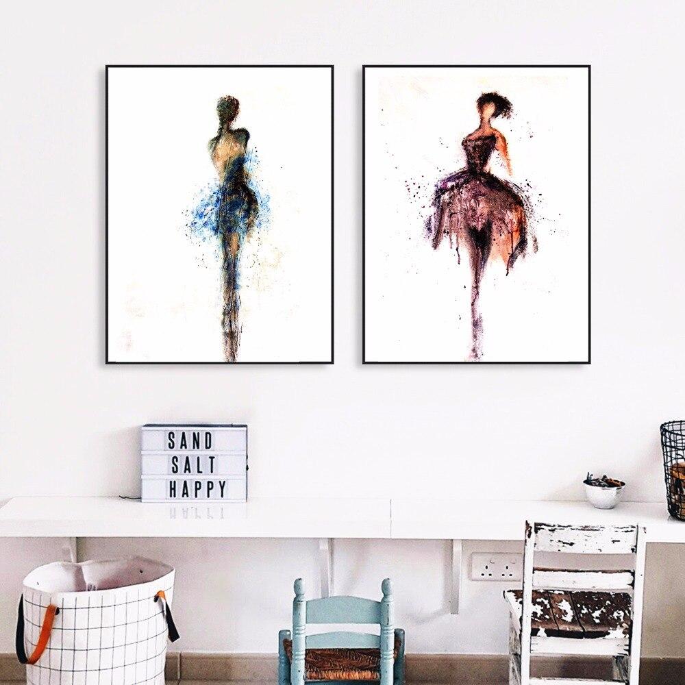 Akvarel Ballerina Umělecké plátno Umělecká reprodukce Malba Plakát Nástěnné obrázky pro děti Pokoj Domácí Dekorace Ložnice Dekor bez rámu