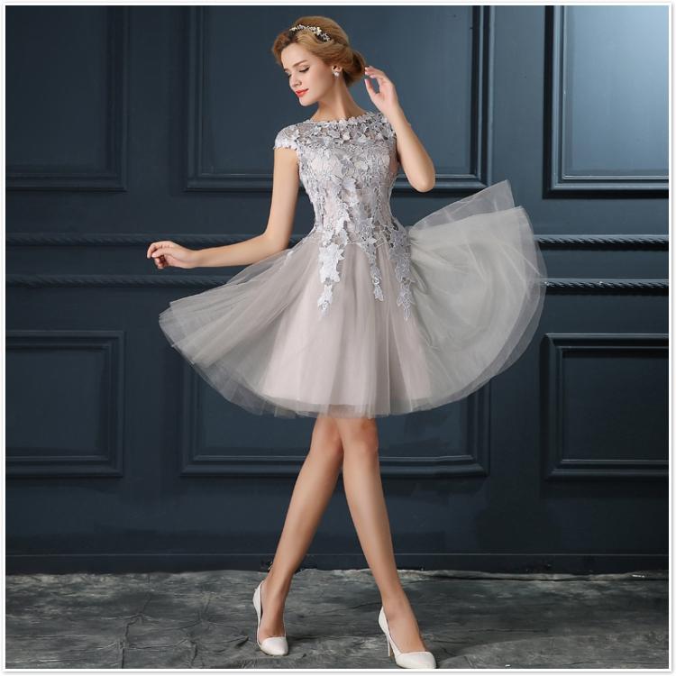 Robe De Soiree 2017 gery u collar Lace Up short evening dress abendkleider vestito da sera prom dresses party dresses 4 colors 13