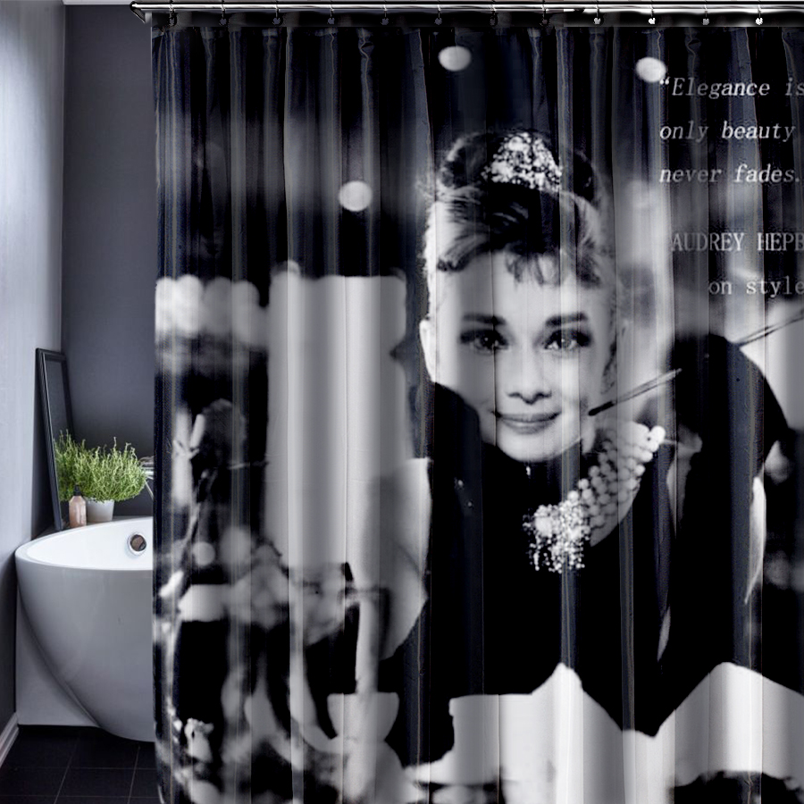 Audrey Hepburn Shower Curtain Customized Waterproof Bathroom Fabric 165x180cm For In Curtains From Home