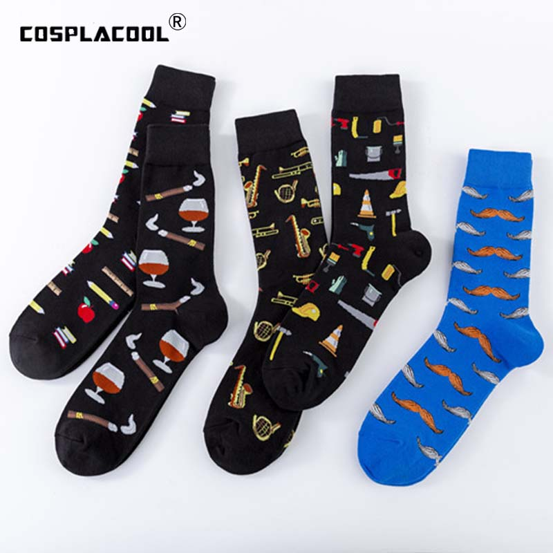 [COSPLACOOL]Cool Art Hip Hop Crew Socks Funny Red Wine Music Street Socks Men Harajuku Divertidos Skateboard Chaussette Homme
