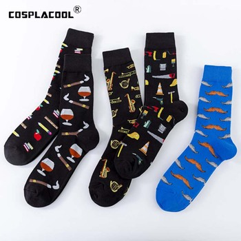 [COSPLACOOL]Cool Art Hip Hop Crew Socks Funny Red Wine Music Street Men Harajuku Divertidos Skateboard Chaussette Homme - discount item  41% OFF Men's Socks