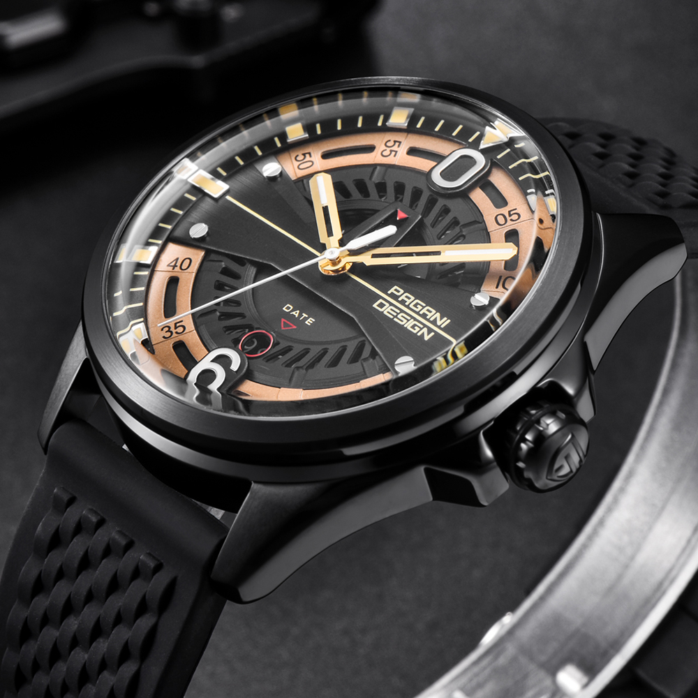 Luxury Brand PAGANI DESIGN New Men Watches Fashion Silicone Strap Waterproof Quartz Watch Black Gold Reloj