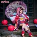Minamoto Kagura Cosplay Onmyoji Japanese Kawaii Red Kimono Uwowo Costume