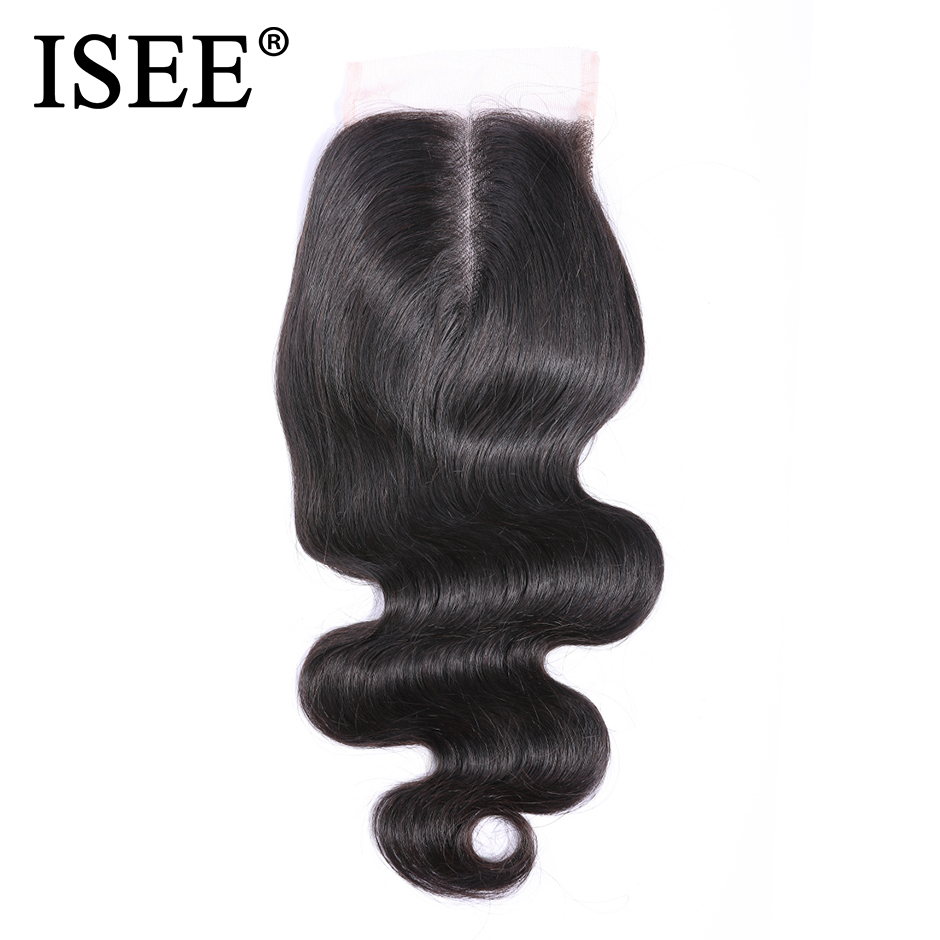 ISEE HAIR Brazilian Body Wave Closure Middle Part Hand tied 100% Remy Human Hair 4 * 4 Lace Closure Free Color Nature