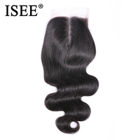 ISEE HAIR Brazilian Body Wave Closure Middle Part Hand Tied 100% Remy Human Hair 4*4 Lace Closure Free Shipping Nature Color
