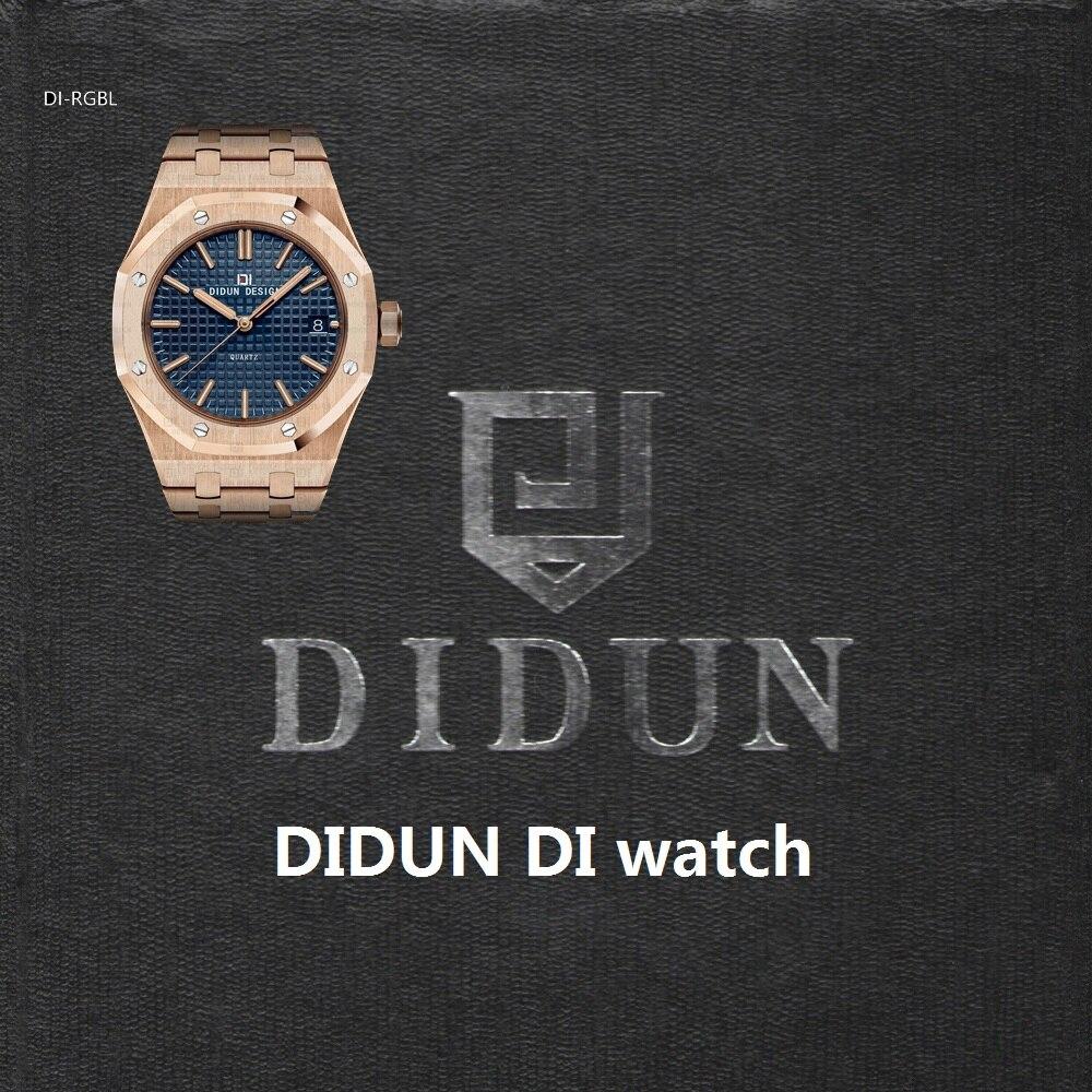 DIDUN мужские часы лучший бренд класса люкс кварцевые часы Бизнес противоударный 30 м Водонепроницаемый часы мужской Наручные часы