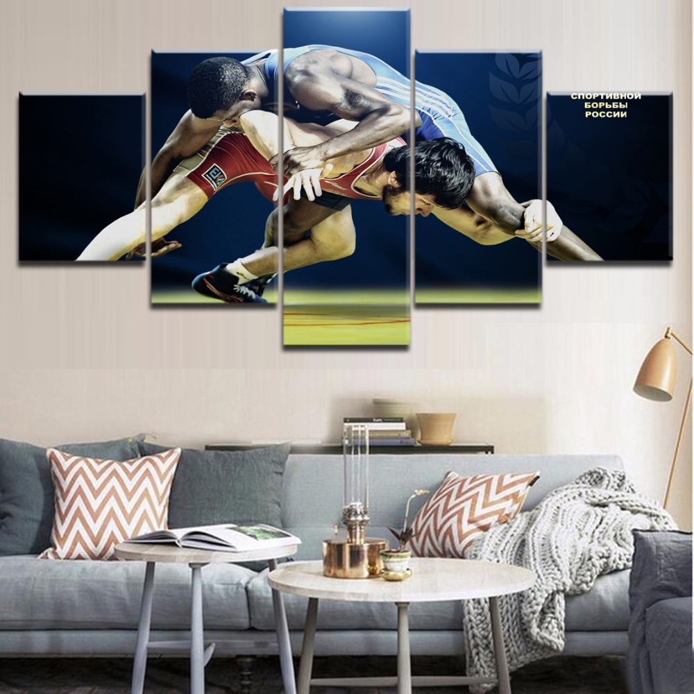 Top-Rated 5 Pieces HD Print Painting Wrestling Fierce Resistance Sports Decorative Bedroom Living Room Framework Modern