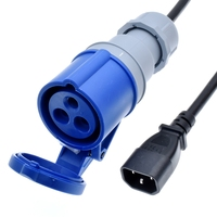 IEC320 C14 to IEC 309 316C6 Power cord,Plug a Device with 316P6 Inlet Plug into IEC C13 Outlet connector,IP44,1.5mm gauge,1 9m