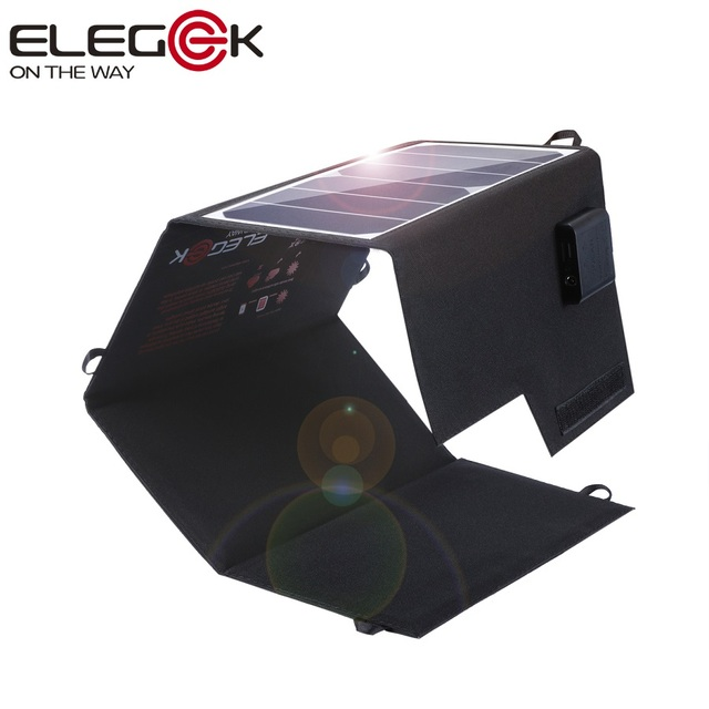 Elegeek 26 w sunpower panel solar portátil cargador usb + dc salida doble panel solar plegable para iphone android batería cargador etc
