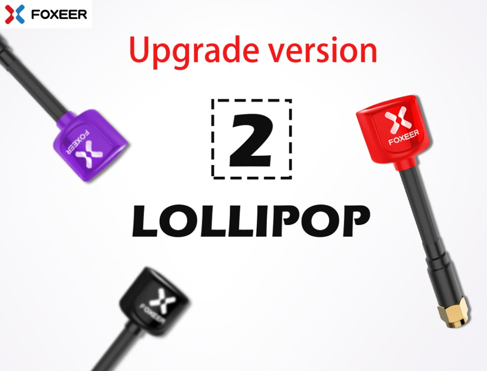 Foxeer Lollipop 2 5,8g 2.3dBi RHCP Super Mini FPV antena 59mm rojo/Negro SMA/RPSMA mini antena para RC Drone FPV Multicopter