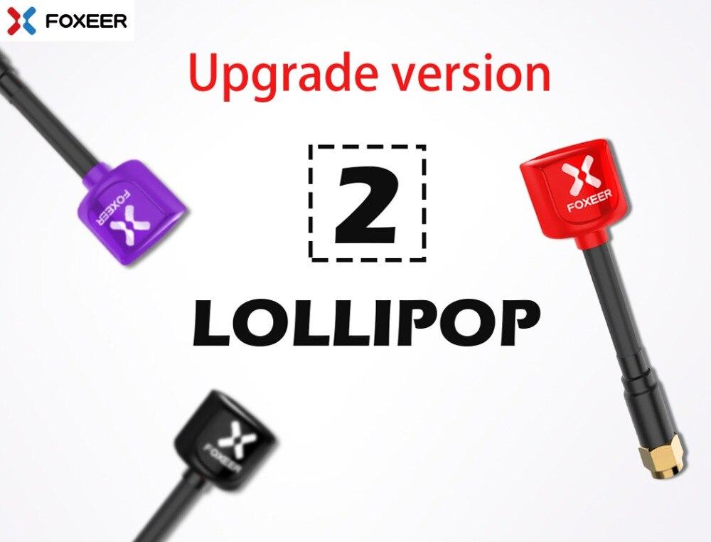 Foxeer Lollipop 2 5.8g 2.3dBi RHCP Super Mini FPV Antenna 59mm Rosso/Nero SMA/RPSMA mini antenna Per RC Drone FPV Multicopter