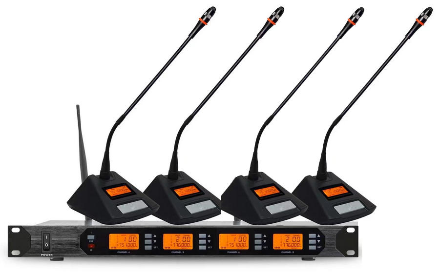 Wireless Conference Microphone System UHF 4*100Ch Professional Gooseneck Desktop Mic Chairman Delegate Microphone for Meeting oupushi conference system 8 channel gooseneck uhf ppl wireless conference table microphone sound quality ceiling speaker