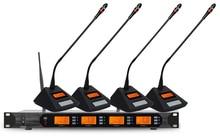 Drahtlose Konferenz Mikrofon System UHF 4 * 100Ch Professionelle Schwanenhals Desktop Mic Vorsitzender Sprechstelle Mikrofon für Treffen