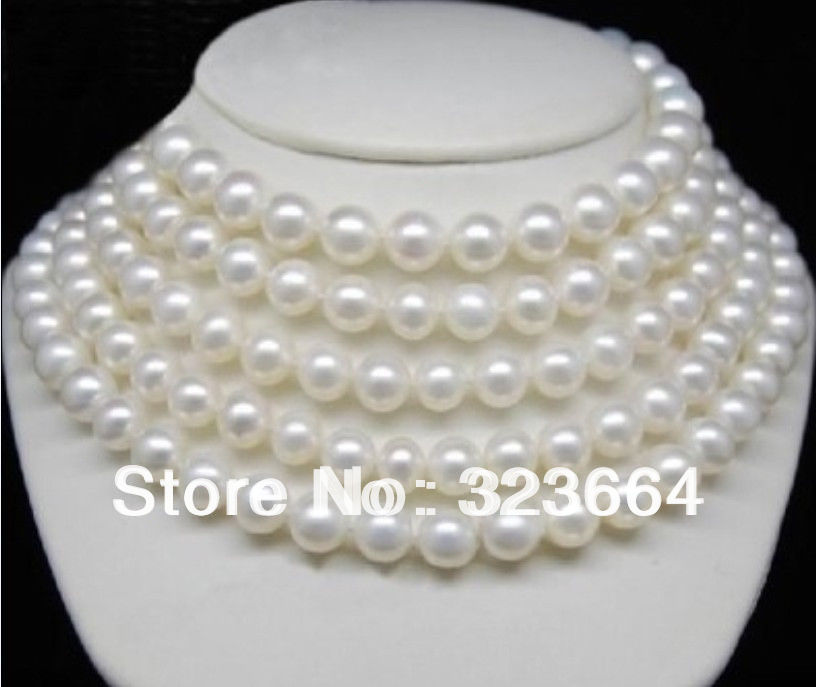 Hot Sell! AAA 8-9MM WHITE PEARL NECKLACE 70INCH