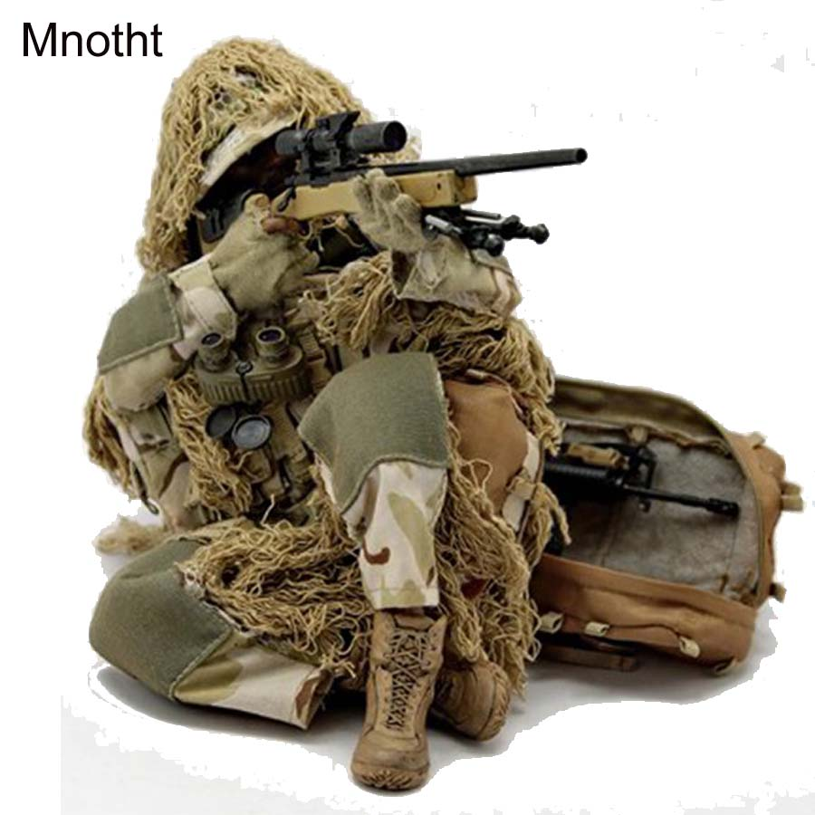 Mnotht 1/6 Ghillie suit Sniper Suit Military model VH1009 Solider Model Clothes For 12in Male Action Figure Toys l30 Collection mnotht 1 6 action figure panzer third