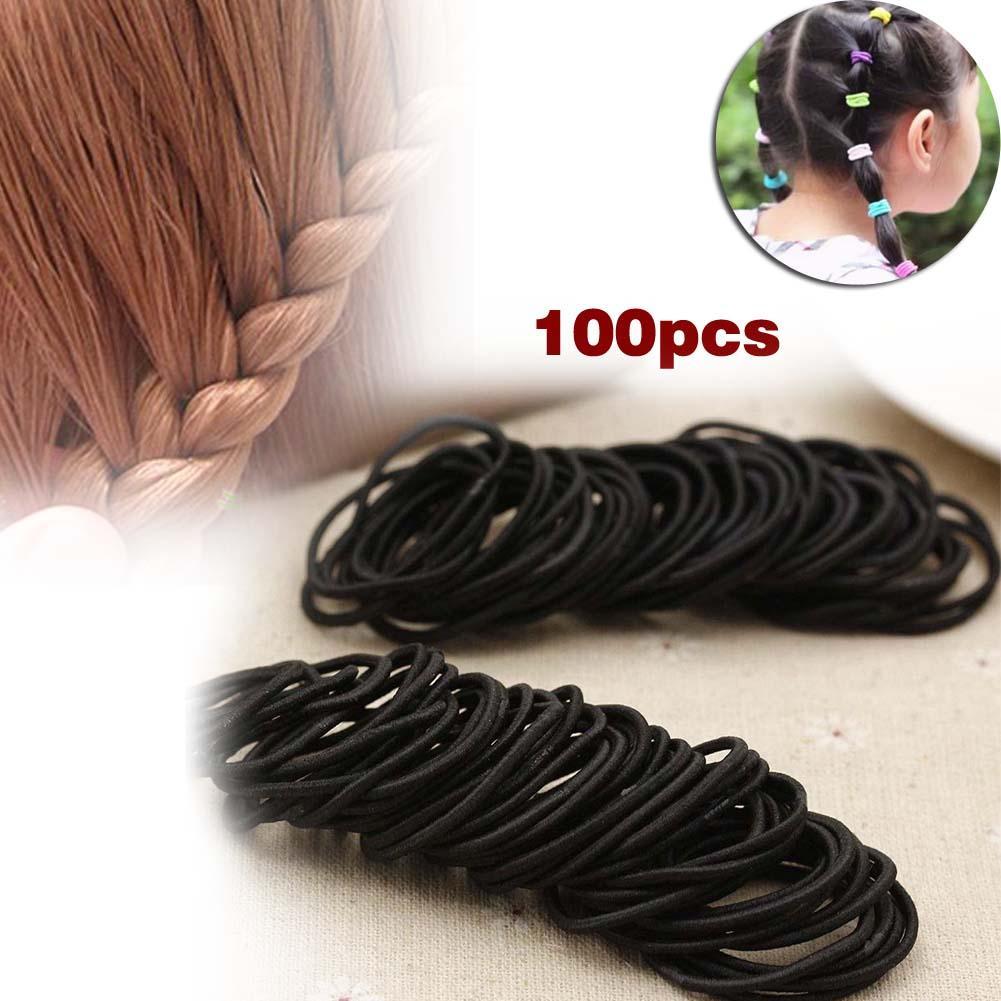 Best 100 Pcs Black Elastic Hair Bands Ponytail Holder Head Rope Ties Headwear Hair Styling Kids Girl Accessories Scrunchie