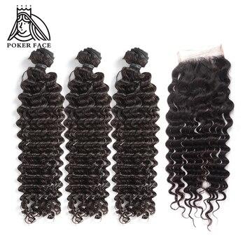 Poker Face Deep Wave Weave Hair Bundles With Closure 100% Human Virgin Indian Weaves Salon Bundle Pack 4Pcs  For A Full Head
