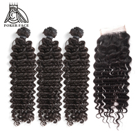 Poker Face Deep Wave Weave Hair Bundles With Closure 100% Human Virgin Indian Weaves Salon Bundle Pack 4Pcs For A Full Head