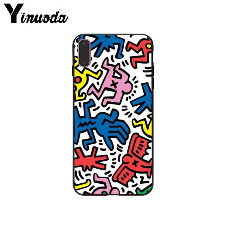 Yinuoda Art Keith Haring Graffiti Slim Anti Broken Tpu Phone Shell Case For Apple Iphone X Xs Max 7 6 6s Plus 5 5s Se Xr Case