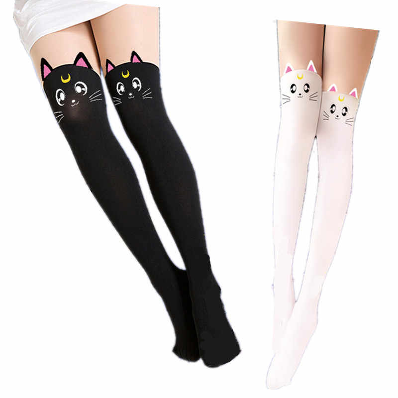 Hot Anime Sailor Moon Cosplay Costume Women Luna Cat Socks Pantyhose Silk Tights Leggings Stockings Black And White Free Ship