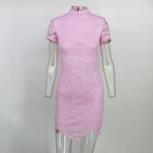 Santune Laço cor de rosa de manga curta mini vestido Oco out Dupla Lápis Vestido Casual Colarinho Alto Corpo Apertado Mini Vestidos inteiros(China)