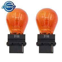 LYMOYO 2pcs T25 3156 3157 P27W 12V 27W claro sinal de Volta do carro externo Luzes do bulbo da lâmpada halógena alta qualidade Âmbar branco