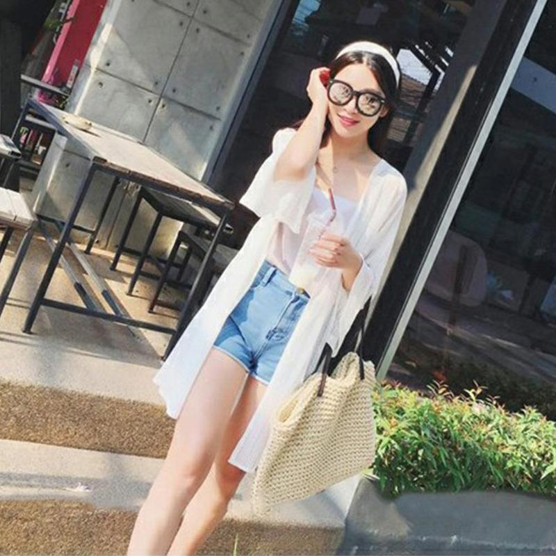 Women Summer Cardigan Solid Color Sun Protection Thin Beach Shawl Mesh Tops Feminina Mujer 2019 New in Blouses amp Shirts from Women 39 s Clothing
