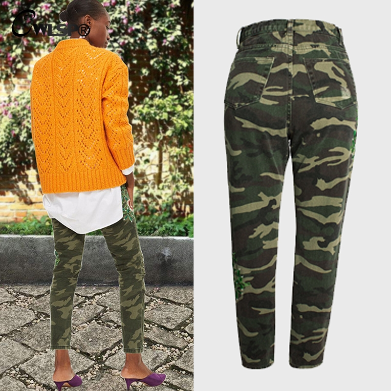4aade9b6e74 Aliexpress.com   Buy CWLSP Floral Embroidery Camouflage Jeans Woman Skinny  Pencil Trousers Ripped Casual Plus size Pants 2018 jean femme QL3853 from  ...