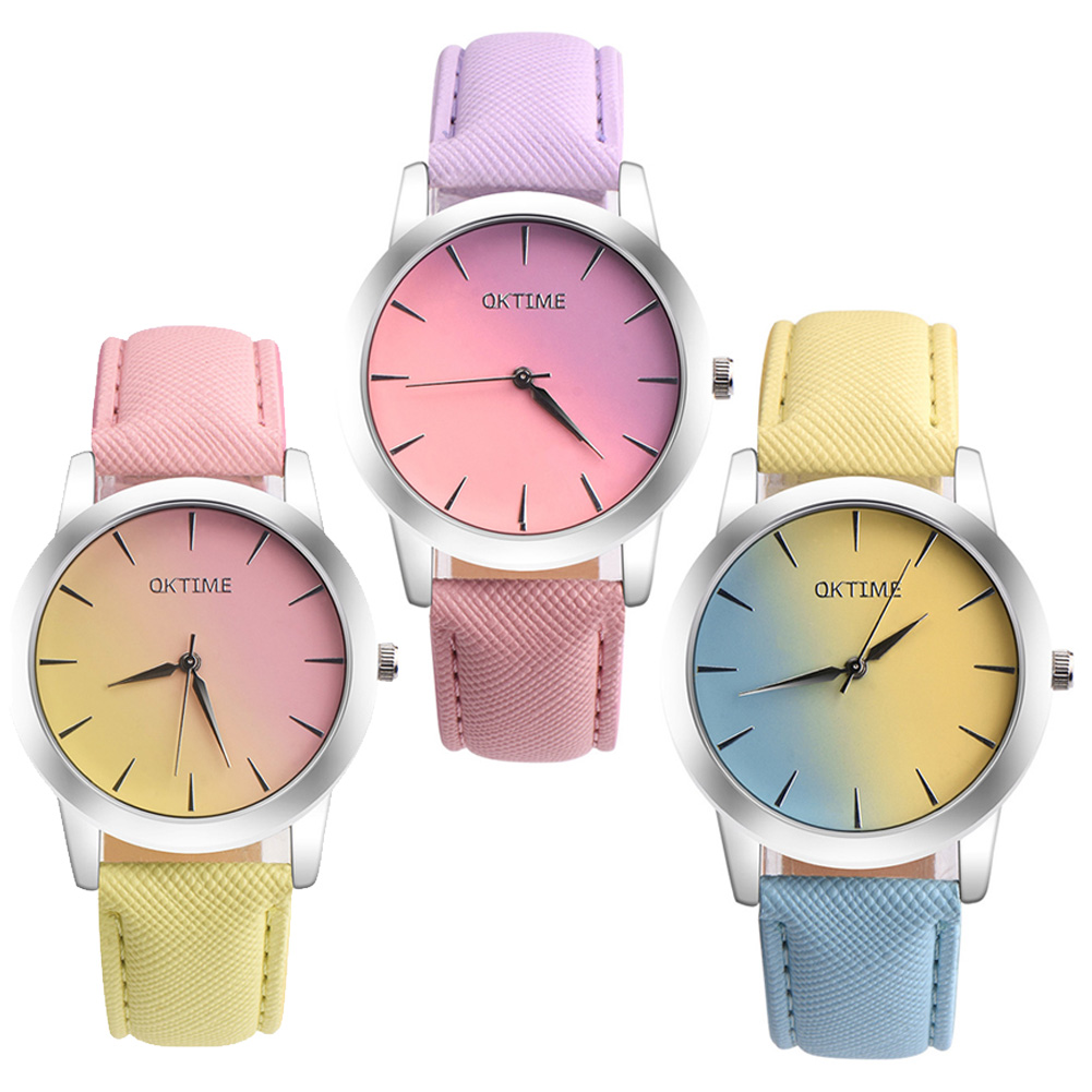 2018 New Desgin rainbow watch Candy Hit color Rainbow Women Watches Ladies Fashion Casual Leather Watch horloges vrouwen new 2015 led watch women kids watch fashion casual cartoon watches colorful rainbow girls