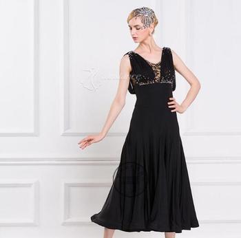 customize black  sleeveless  competition Fox trot   Waltz  tango  practice  ballroom  dance dress  social dance dress M-1648