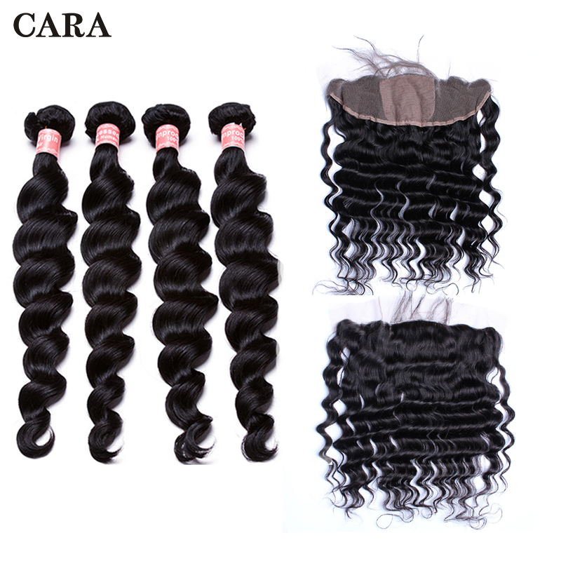 Silk Base Loose Wave Brazilian Hair Lace Frontal Closure With Bundles 13x4 Lace Frontal 4 Pcs Hair Extension Remy Hair CARA