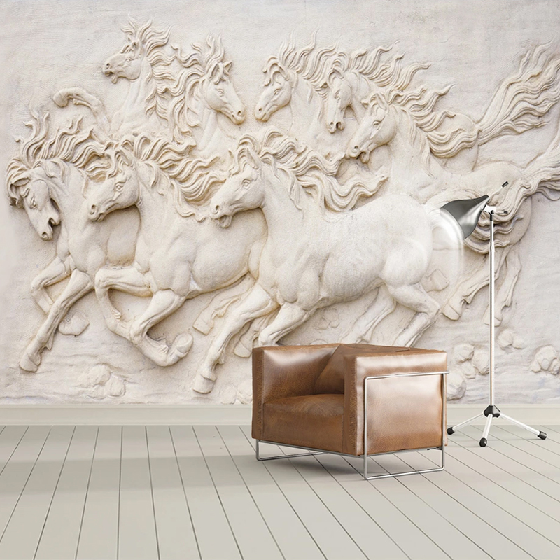 Custom Mural Wallpaper 3D Stereoscopic Embossed Horse TV Background Wall Painting Living Room Study Room Wall Decor Wallpapers